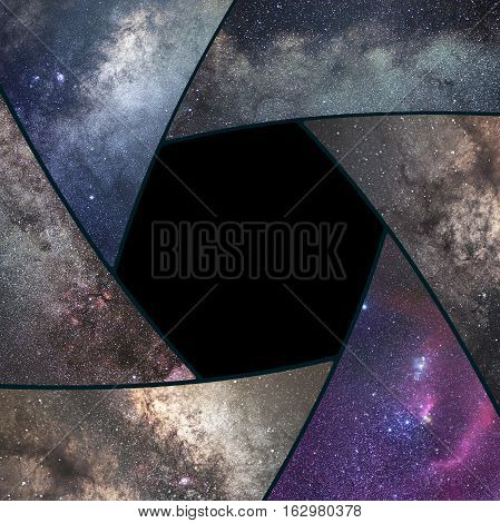 Astrophotography Collage. Shutter Collage Universe. Space Astronomy .long Exposure Photography.