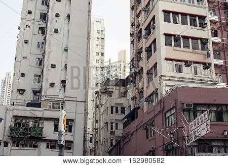 Hong Kong, China - November 10, 2014 Old multi-storey building