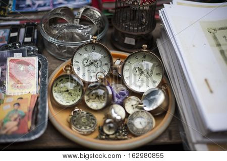 Hong Kong, China - November 11, 2014: Old antique pocket watch