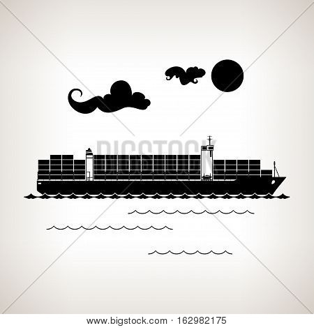 Silhouette cargo container ship with clouds and sun on a light background, black and white illustration