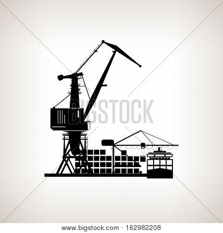 Silhouette cargo container ship and cargo crane on a light background ,unloading containers from a cargo ship at the docks with cargo crane, black and white illustration