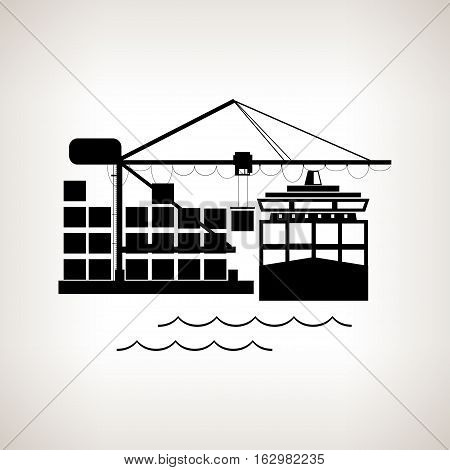 Silhouette cargo container ship and cargo crane on a light background, unloading containers from a cargo ship on the docks with cargo crane, black and white illustration