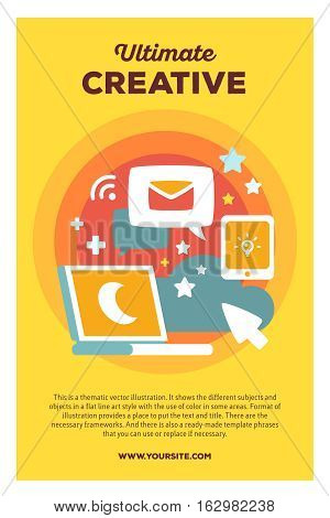 Vector Creative Colorful Illustration Of Laptop With Speech Bubble And Phone With Header And Text On