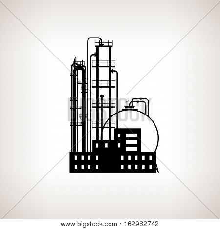 Silhouette of a chemical plant or refinery processing of natural resources or a plant for the manufacture of products .Chemical factory silhouette for industrial and technology design