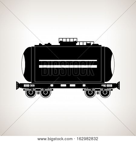 Silhouette railway car the tank for transportation of liquid and loose freights oil the liquefied gas milk cement flour water on a light background, black and white illustration
