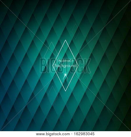 Abstract rhombic green background for your designs. Elegant geometric wallpaper.
