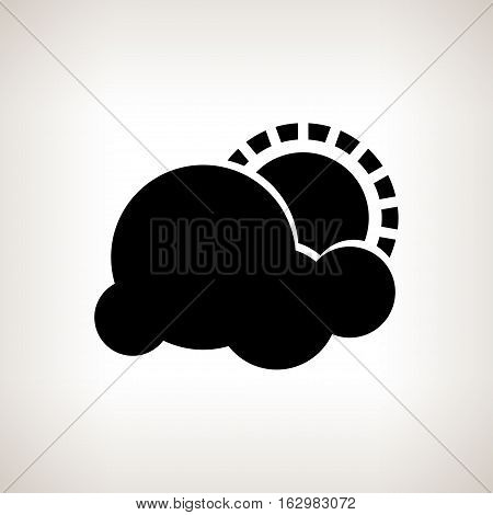 Silhouette partly cloudy, cloud with sun  on a light background , black and white   illustration