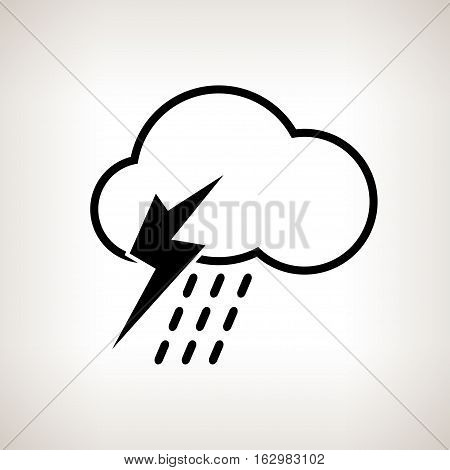 Silhouette thunderstorm, cloud with thunderstorm and rain on a light background , black and white   illustration