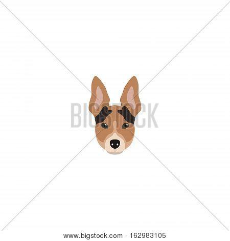 Rat Terrier head. Design Dog vector illustration.