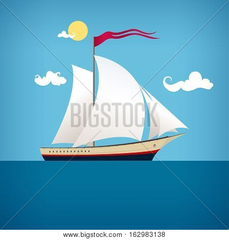 Sailing vessel with a flag in the  blue ocean in a sunny day