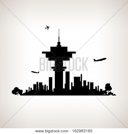 Silhouette control tower at the airport against the background of the city,  black and white   illustration
