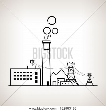 Silhouette complex industrial facilities with the power line, coal power station on the light background, black and white   illustration