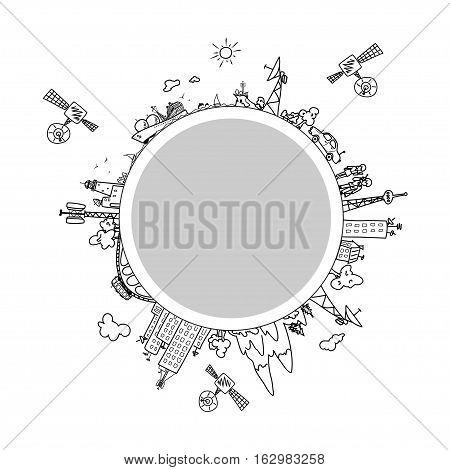 Global information network on the globe, satellites, antennas, satellite antennas, repeaters, black and white   illustration