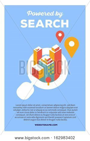 Vector Creative Colorful Illustration Of Magnifier With City And Header Powered By Search, Text On B