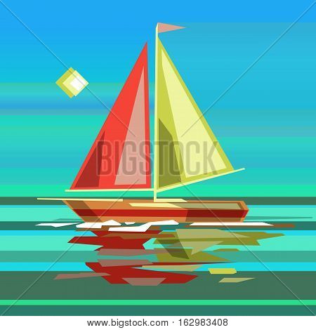 Stylized sailing boat on sea surface background with reflection in water. Stock vector illustration.