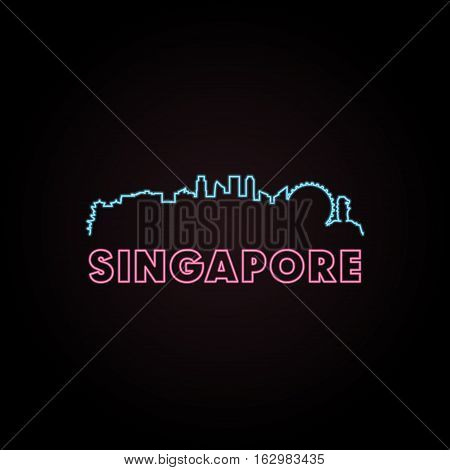Singapore skyline neon style in editable vector file.