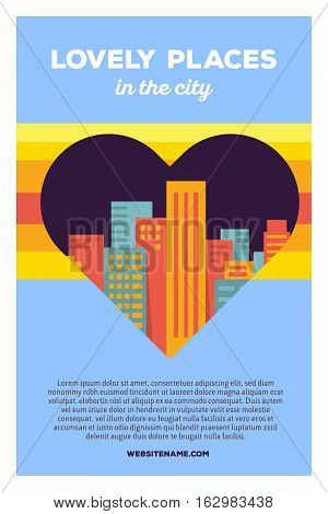 Vector Creative Colorful Illustration Of Modern Bright Big City Within Heart Shape With Header Lovel