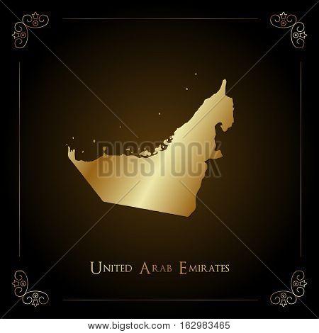 UAE golden map. Luxurious design element vector illustration.