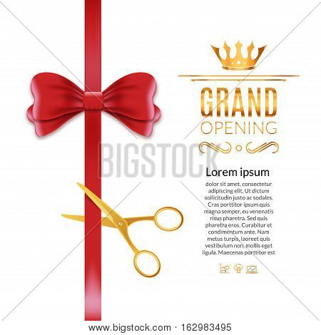 Grand Opening red ribbon and bow. Open ceremony scissor ribbon cut background.