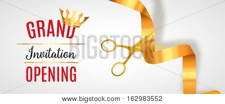 Grand Opening invitation banner. Golden Ribbon cut ceremony event. Grand opening celebration card.