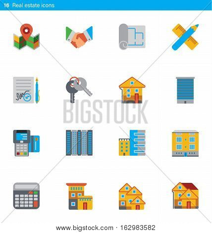 Vector set of 16 icons showing real estate and construction business in flat material style