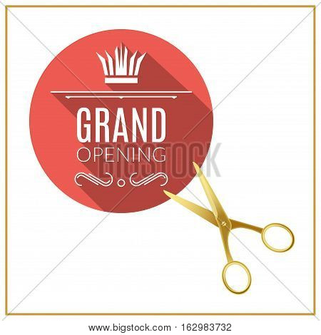 Grand Opening circle button with golden scissors. Grand opening design elements template.
