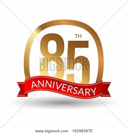 85 years anniversary experience gold label with red ribbon, vector illustration.