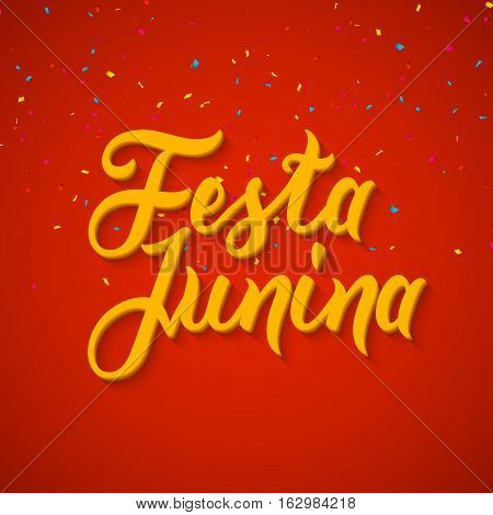 Festa Junina celebration poster. Brazilian festa decoration flye design template.