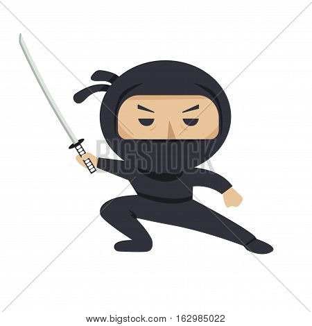 Ninja character. Serious ninja with sword. Flat style vector illustration