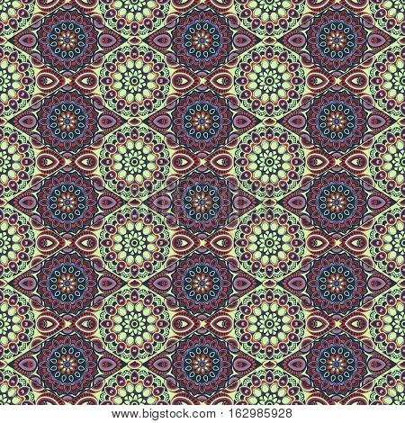 Ornamental seamless pattern. East, oriental design, ethnic style. Vector background of mandala. Islam, Arabic, Indian, ottoman motifs. For use in fabric , wallpaper, wrapping, hippie decoration
