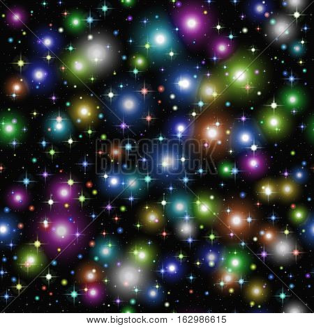 Abstract Seamless Background, Shining Colorful Sparks and Stars on Black