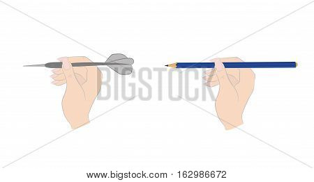 Hand with dart. hand with a pencil. vector illustration.
