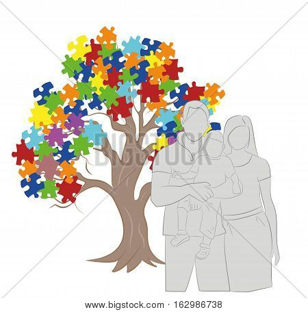 Puzzle Pieces in Autism Awareness Colors Background, 3D rendering. family silhouette. vector illustration.