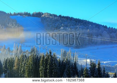 Skiing and recreation in the mountains in winter