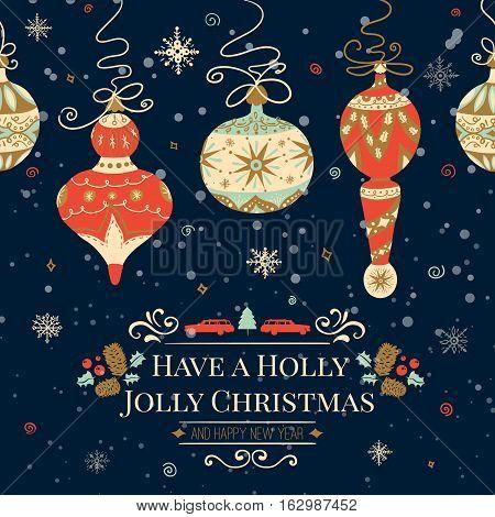 Holiday and Christmas hand drawing greeting card