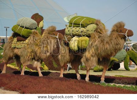 Topiary camel caravan at the EXPO 2016 Antalya