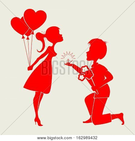 Romantic silhouettes of a loving couple guy s on his knees and a girl with a wedding ring, a bouquet of flowers and balloons in hand