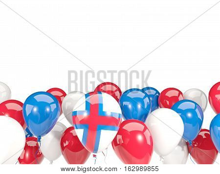 Flag Of Faroe Islands With Balloons