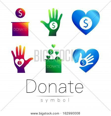Donation sign icon Set. Donate money box, hand, heart. Charity or endowment symbol. Human helping. on white background. Vector.Violet green blue color.Concept.