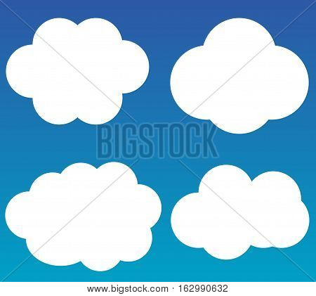 Cloud vector icons isolated over gradient blue background white fluffy vector clouds set