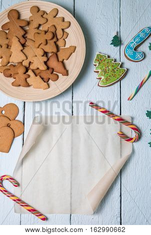 Christmas photo with blank place with Christmas cookies caramel stick