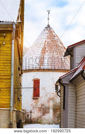 White Old Tower In Parnu, Estonia