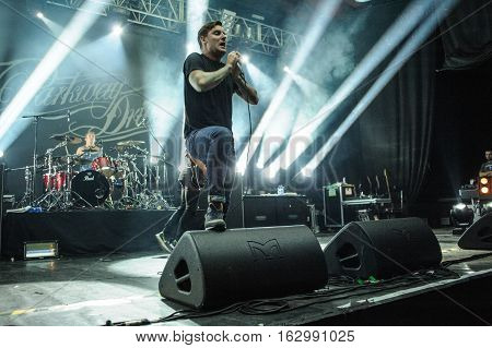 BUDAPEST, HUNGARY - NOVEMBER 29TH: AUSTRALIAN METALCORE BAND PARKWAY DRIVE DURING PERFORMANCE AT PECSA MUSIC HALL 2012, IN BUDAPEST, HUNGARY
