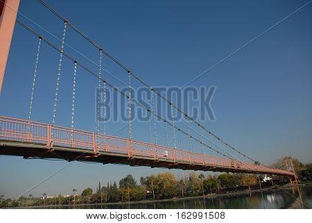 Suspension bridge over the Seyhan River of Adana city