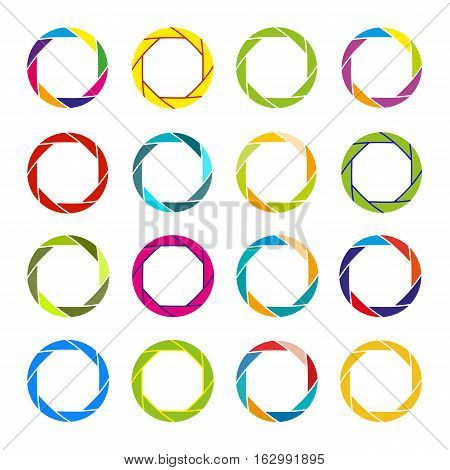 Set of round and circular decorative frames and borders for logo and stamps. Collection colorful diaphragm icons. Vector design elements.