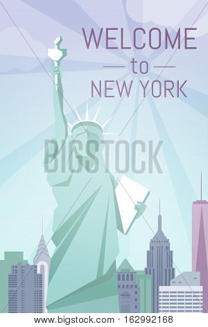 Welcome to New York poster flat design. For web banners, post card, travel advertisement.