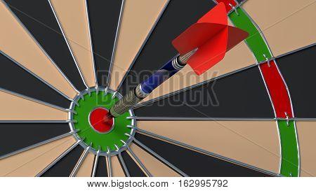 Arrow hitting the bulls eye on a dartboard closeup 3D illustration