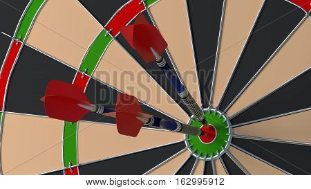 Three arrows hitting the bulls eye on a dartboard closeup 3D illustration