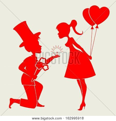 Romantic silhouettes of a loving couple of the guy in the hat on my knees with a wedding ring and girl with air balloons
