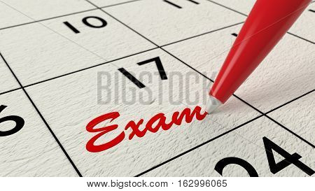 Red ballpen on a paper calendar closeup with the word exam 3D illustration